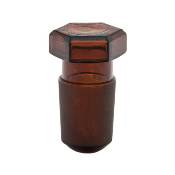 Korek szklany sześciokątny – brązowy
