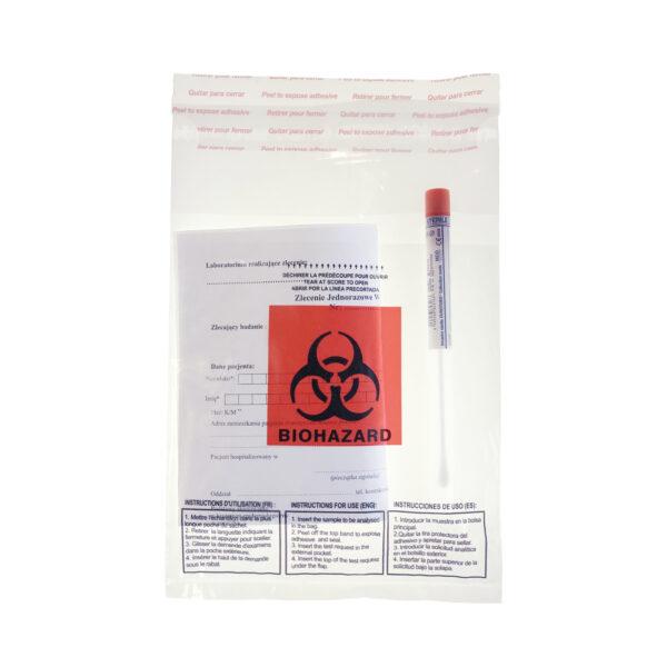Worki na próbki z logo Biohazard – z kieszenią na dokumenty